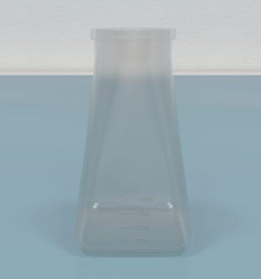 Drosophila Bottles, Square Bottom including foam plugs, cotton balls, and paper lids
